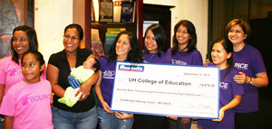 BOUNCE participants, staff and volunteers received check