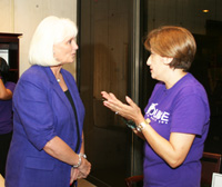 Connie Yates with Randall's SAFEWAY discusses the BOUNCE Program with Norma Olvera in the Dean's Suite on September 12, 2012.
